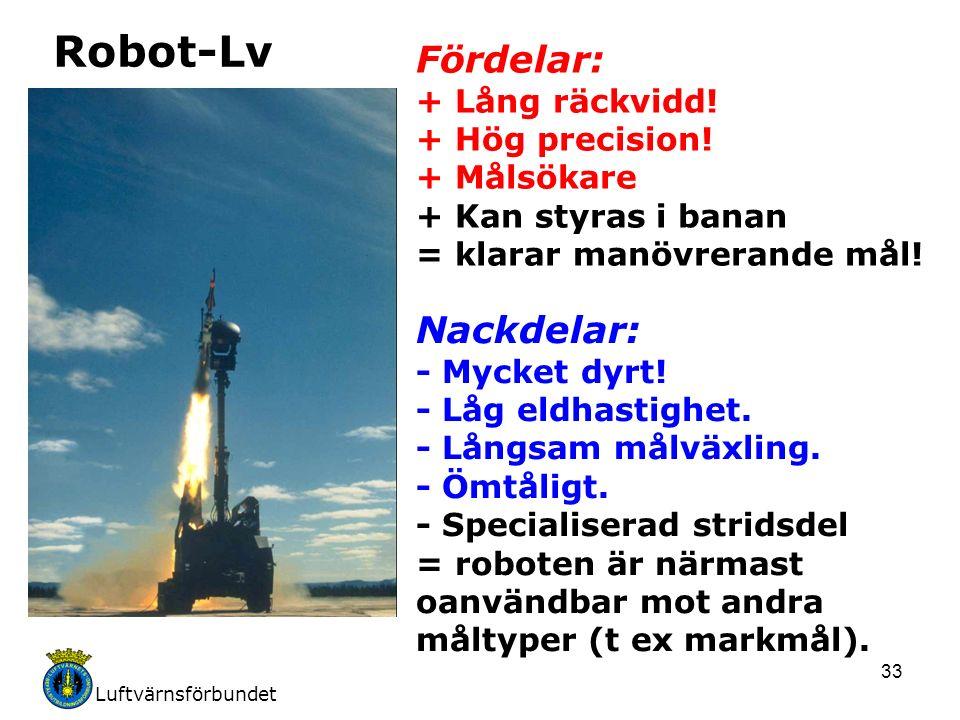 Luftvärnsförbundet 33 Robot-Lv Fördelar: + Lång räckvidd! + Hög precision! + Målsökare + Kan styras i banan = klarar manövrerande mål! Nackdelar: - My