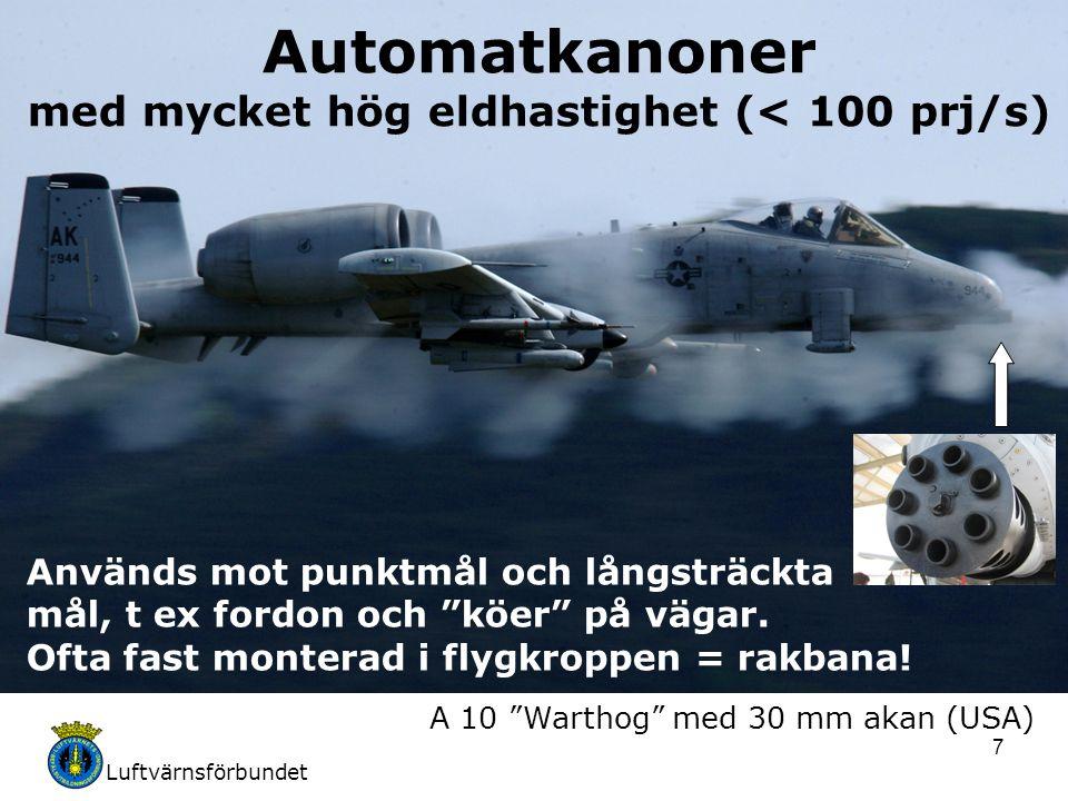 Luftvärnsförbundet 7 Automatkanoner med mycket hög eldhastighet (< 100 prj/s) Används mot punktmål och långsträckta mål, t ex fordon och köer på vägar.