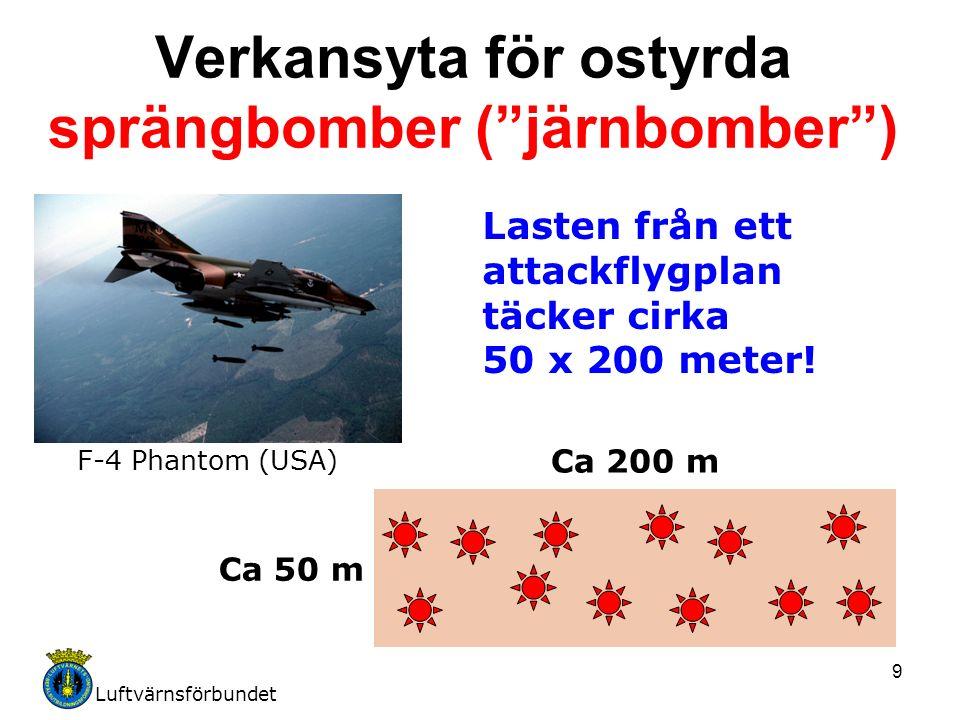 """Luftvärnsförbundet 9 Verkansyta för ostyrda sprängbomber (""""järnbomber"""") Lasten från ett attackflygplan täcker cirka 50 x 200 meter! Ca 50 m Ca 200 m F"""