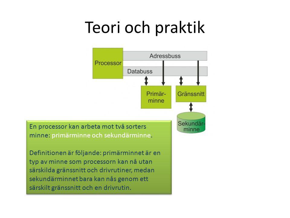 Teori och praktik En processor kan arbeta mot två sorters minne: primärminne och sekundärminne.
