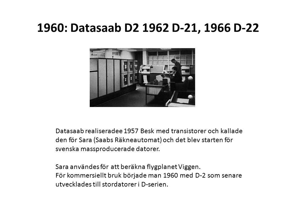 1960: Datasaab D2 1962 D-21, 1966 D-22 Datasaab realiseradee 1957 Besk med transistorer och kallade den för Sara (Saabs Räkneautomat) och det blev starten för svenska massproducerade datorer.