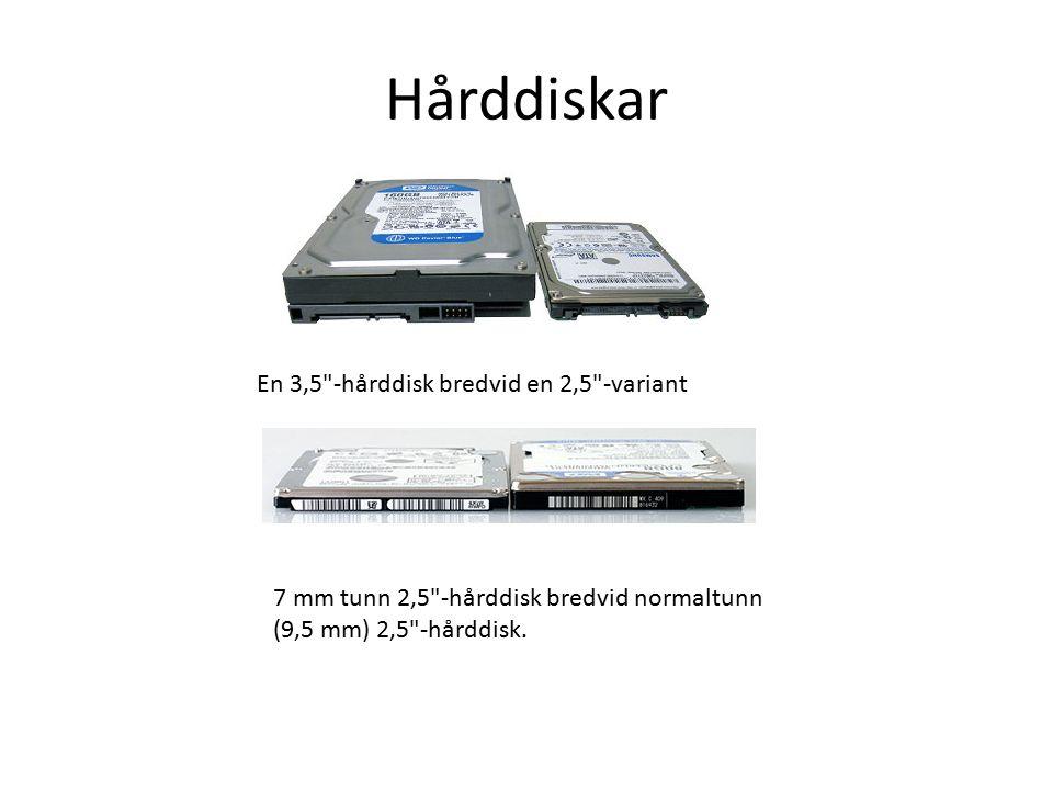 Hårddiskar En 3,5 -hårddisk bredvid en 2,5 -variant 7 mm tunn 2,5 -hårddisk bredvid normaltunn (9,5 mm) 2,5 -hårddisk.