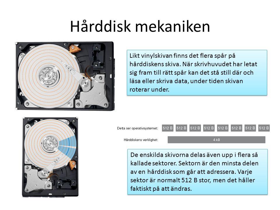 Hårddisk mekaniken Likt vinylskivan finns det flera spår på hårddiskens skiva.