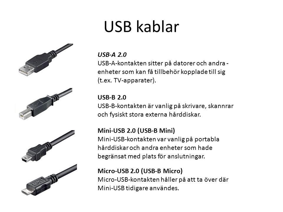 USB kablar USB-A 2.0 USB-A-kontakten sitter på datorer och andra  enheter som kan få tillbehör kopplade till sig (t.ex.