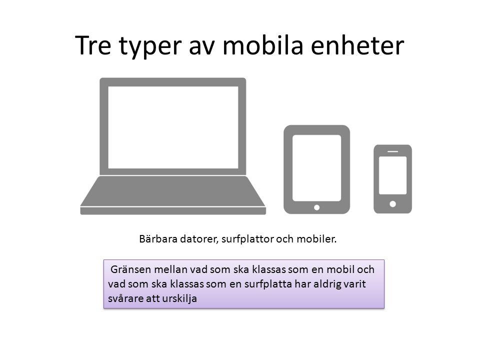 Tre typer av mobila enheter Bärbara datorer, surfplattor och mobiler.