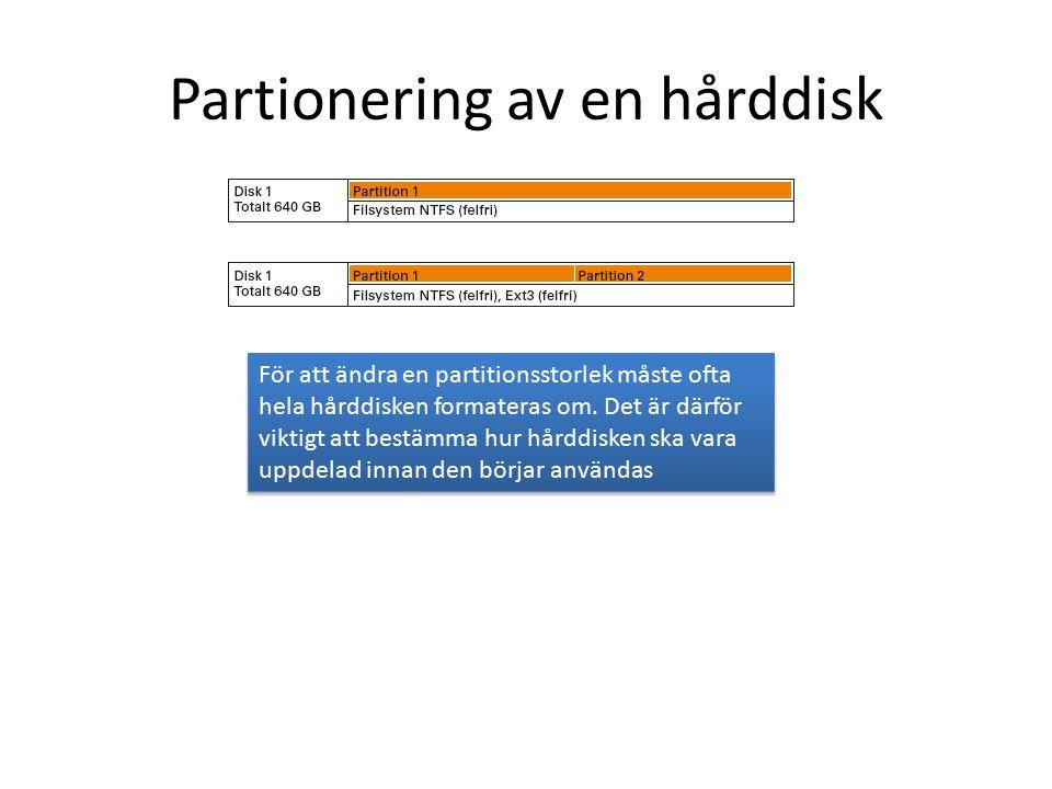 Partionering av en hårddisk För att ändra en partitionsstorlek måste ofta hela hårddisken formateras om.