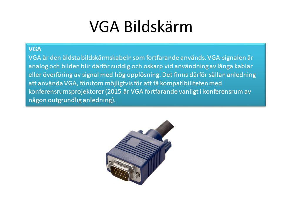 VGA Bildskärm VGA VGA är den äldsta bildskärmskabeln som fortfarande används.