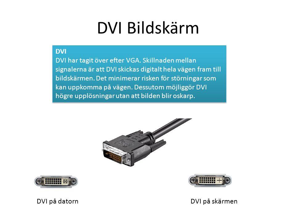 DVI Bildskärm DVI DVI har tagit över efter VGA.