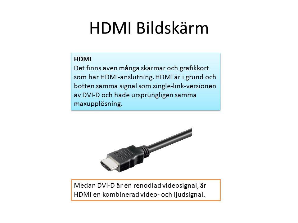 HDMI Bildskärm HDMI Det finns även många skärmar och grafikkort som har HDMI-anslutning.