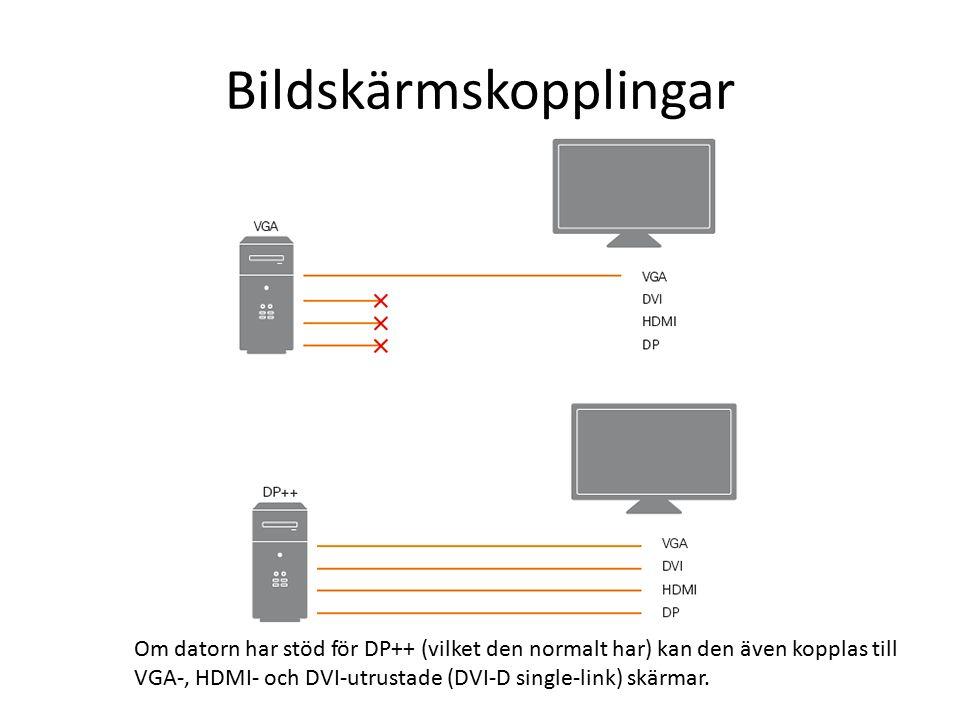 Bildskärmskopplingar Om datorn har stöd för DP++ (vilket den normalt har) kan den även kopplas till VGA-, HDMI- och DVI-utrustade (DVI-D single-link) skärmar.