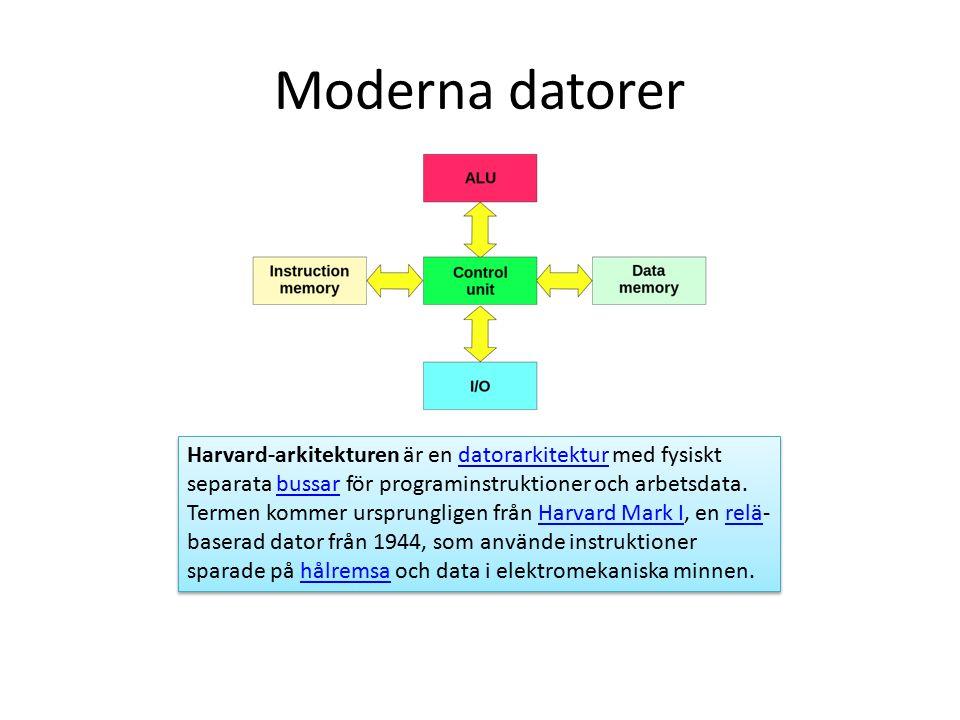 Moderna datorer Harvard-arkitekturen är en datorarkitektur med fysiskt separata bussar för programinstruktioner och arbetsdata.
