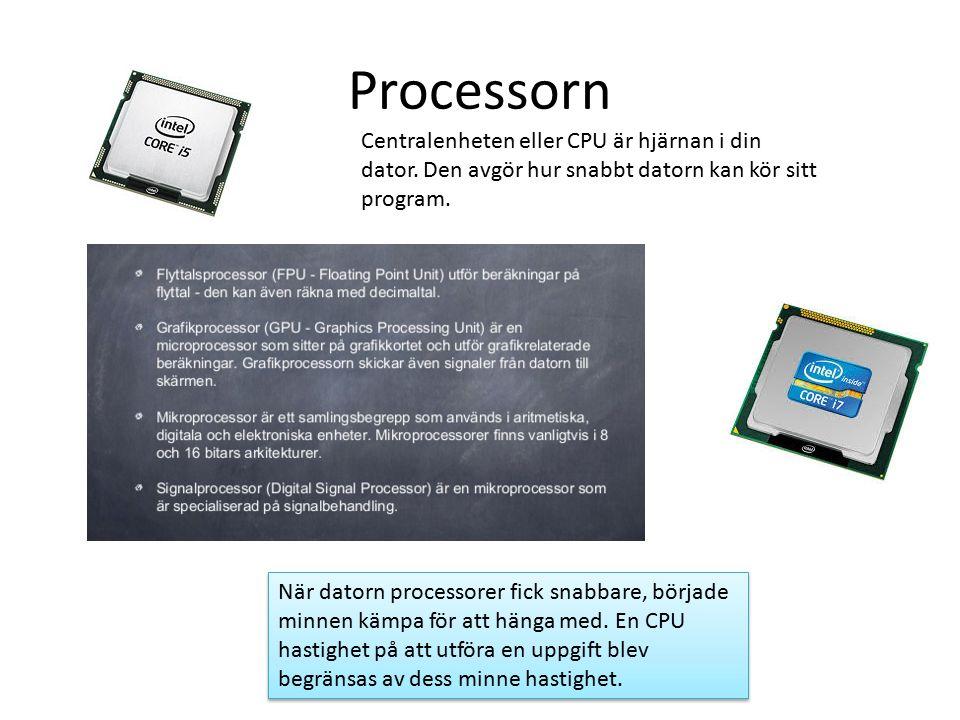 Arbetsminne Random Access Memory eller RAM är ett minne där man kan nå varje minnescell direkt utan att behöva läsa igenom andra delar av minnet, till skillnad från minnen som läses sekventiellt.minnescell Random Access Memory eller RAM är ett minne där man kan nå varje minnescell direkt utan att behöva läsa igenom andra delar av minnet, till skillnad från minnen som läses sekventiellt.minnescell Sedan 2006 har SSD-minne (flashbaserade minnen) med kapacitet över 64 GB och långt bättre prestanda än traditionella hårddiskar.SSD-minne Utvecklingen har börjat sudda ut skillnaden mellan traditionella RAM- minnen och hårddiskar, samt drastiskt minskat skillnaden i prestanda.
