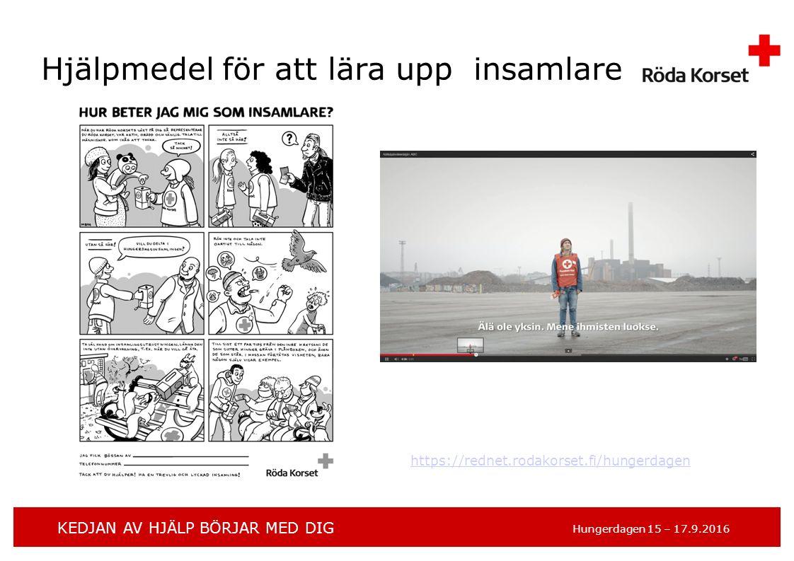 KEDJAN AV HJÄLP BÖRJAR MED DIG Hungerdagen 15 – 17.9.2016 Hjälpmedel för att lära upp insamlare https://rednet.rodakorset.fi/hungerdagen