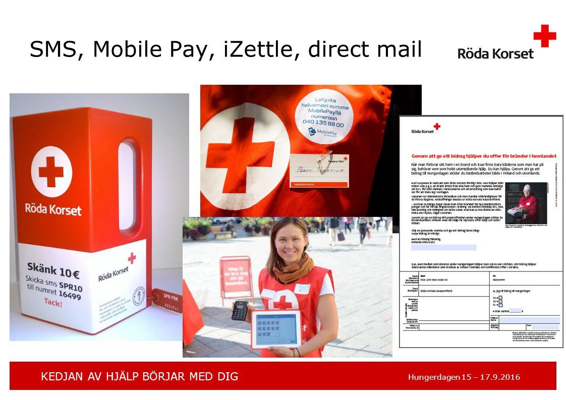 KEDJAN AV HJÄLP BÖRJAR MED DIG Hungerdagen 15 – 17.9.2016 SMS, Mobile Pay, iZettle, direct mail