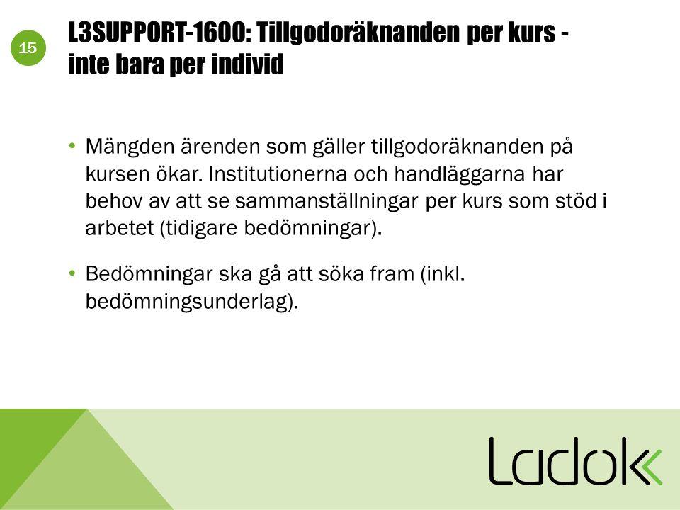 15 L3SUPPORT-1600: Tillgodoräknanden per kurs - inte bara per individ Mängden ärenden som gäller tillgodoräknanden på kursen ökar. Institutionerna och
