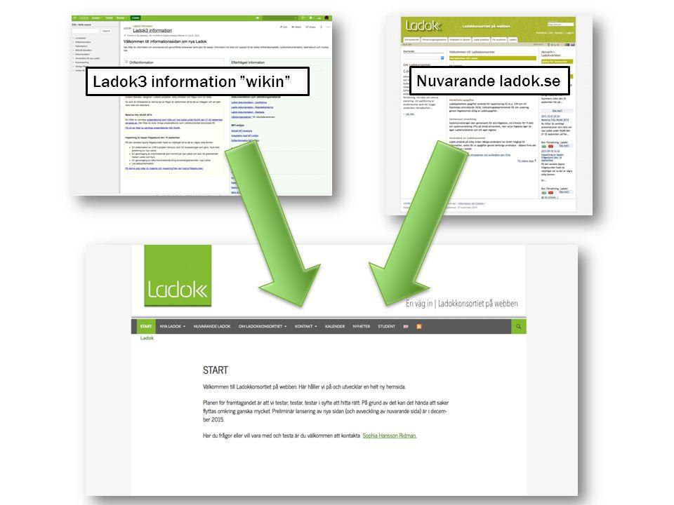 "Ladok3 information ""wikin"" Nuvarande ladok.se"