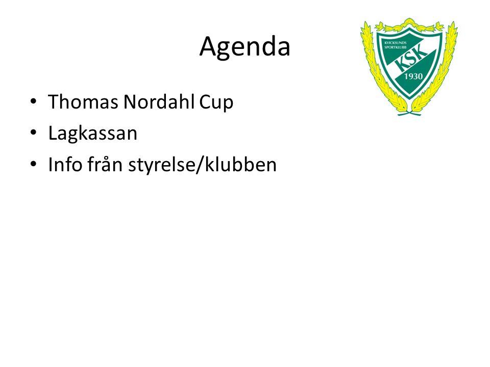 Agenda Thomas Nordahl Cup Lagkassan Info från styrelse/klubben