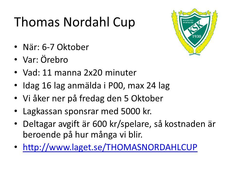 Thomas Nordahl Cup När: 6-7 Oktober Var: Örebro Vad: 11 manna 2x20 minuter Idag 16 lag anmälda i P00, max 24 lag Vi åker ner på fredag den 5 Oktober Lagkassan sponsrar med 5000 kr.