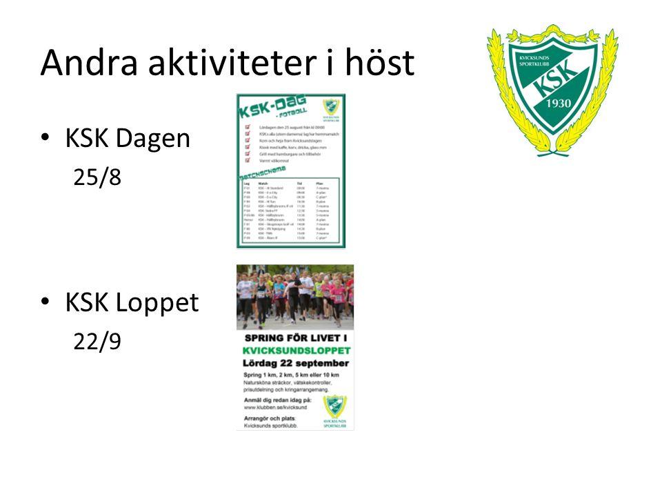 Andra aktiviteter i höst KSK Dagen 25/8 KSK Loppet 22/9