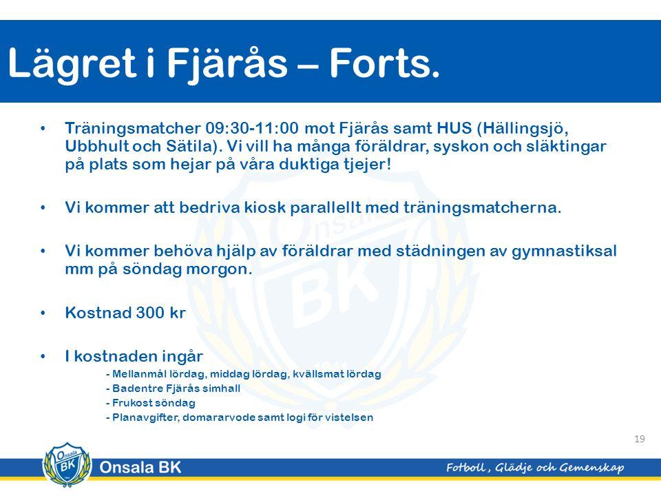 Träningsmatcher 09:30-11:00 mot Fjärås samt HUS (Hällingsjö, Ubbhult och Sätila).