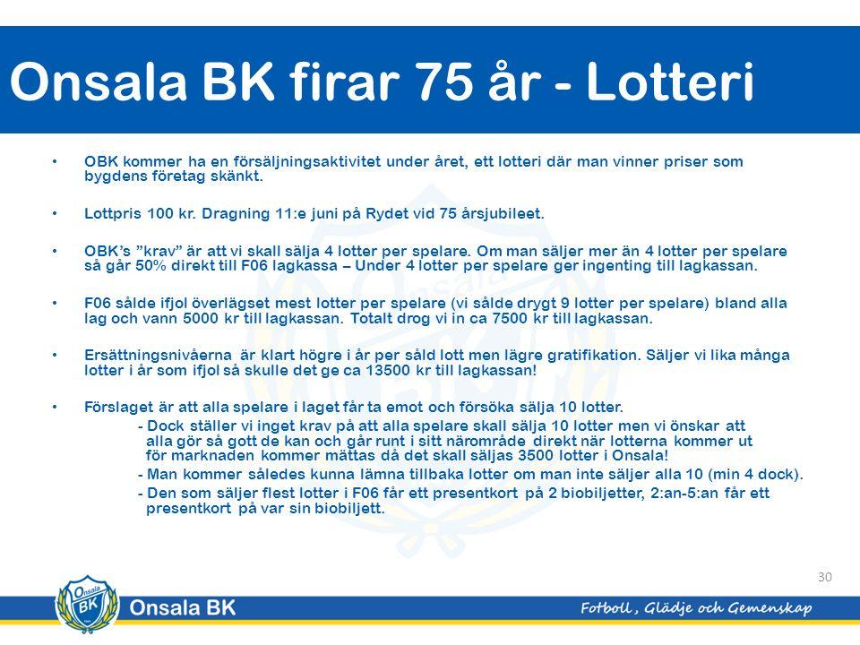Onsala BK firar 75 år - Lotteri 30 OBK kommer ha en försäljningsaktivitet under året, ett lotteri där man vinner priser som bygdens företag skänkt.