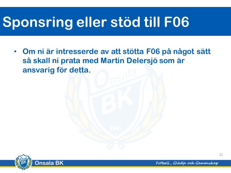 Om ni är intresserde av att stötta F06 på något sätt så skall ni prata med Martin Delersjö som är ansvarig för detta.