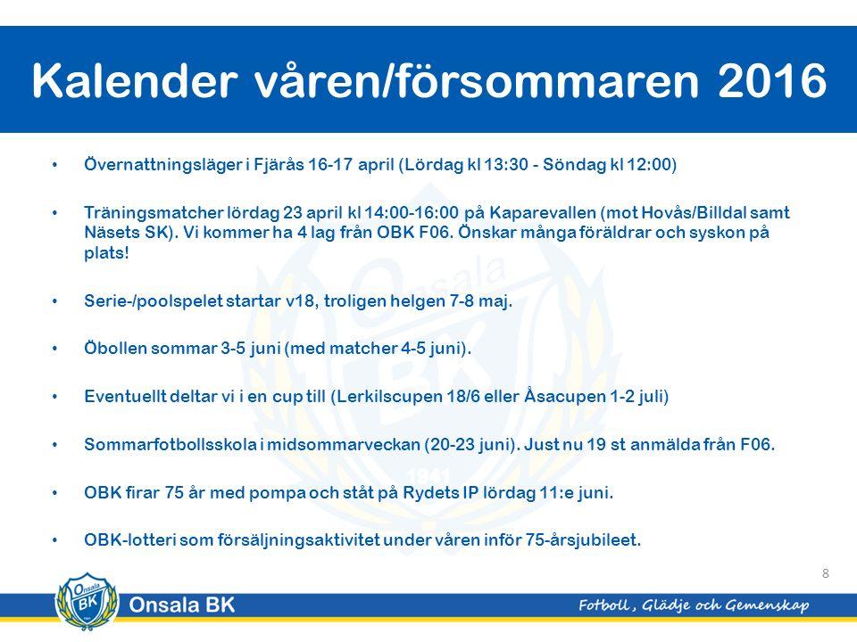 Övernattningsläger i Fjärås 16-17 april (Lördag kl 13:30 - Söndag kl 12:00) Träningsmatcher lördag 23 april kl 14:00-16:00 på Kaparevallen (mot Hovås/Billdal samt Näsets SK).