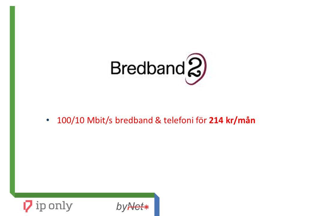 100/10 Mbit/s bredband & telefoni för 214 kr/mån
