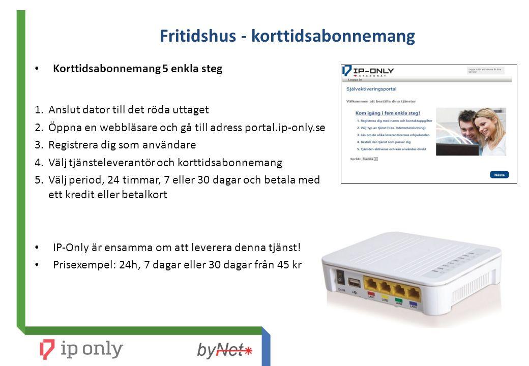 Fritidshus - korttidsabonnemang Korttidsabonnemang 5 enkla steg 1.Anslut dator till det röda uttaget 2.Öppna en webbläsare och gå till adress portal.i