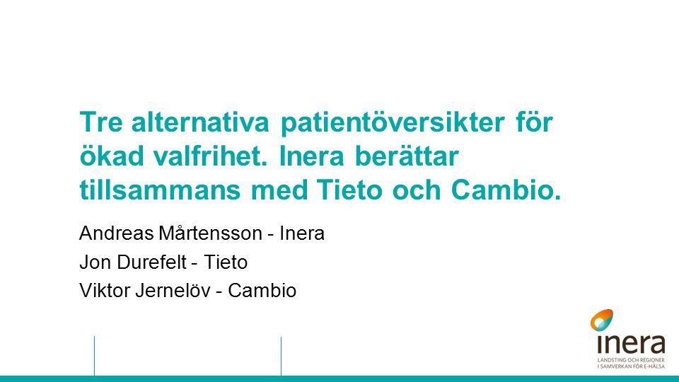 Tre alternativa patientöversikter för ökad valfrihet. Inera berättar tillsammans med Tieto och Cambio. Andreas Mårtensson - Inera Jon Durefelt - Tieto
