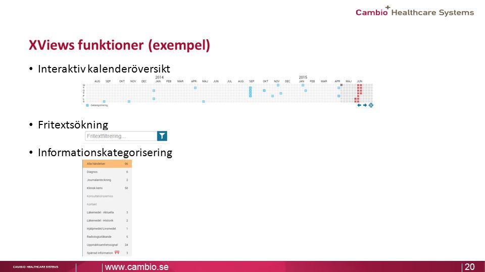 Sv CAMBIO HEALTHCARE SYSTEMS XViews funktioner (exempel) Interaktiv kalenderöversikt Fritextsökning Informationskategorisering www.cambio.se20
