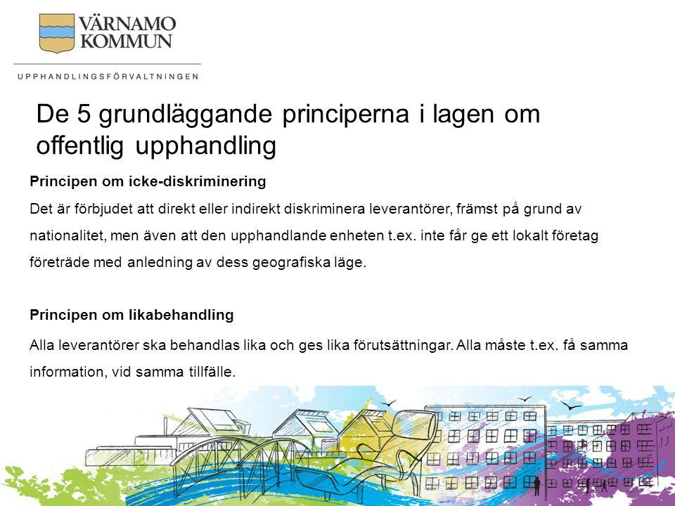 De 5 grundläggande principerna i lagen om offentlig upphandling Principen om ömsesidigt erkännande Innebär bl.a.