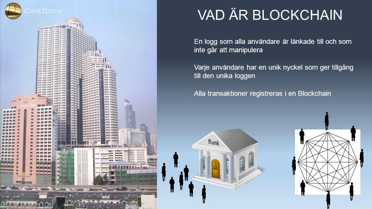 VAD ÄR BLOCKCHAIN En logg som alla användare är länkade till och som inte går att manipulera Varje användare har en unik nyckel som ger tillgång till den unika loggen Alla transaktioner registreras i en Blockchain