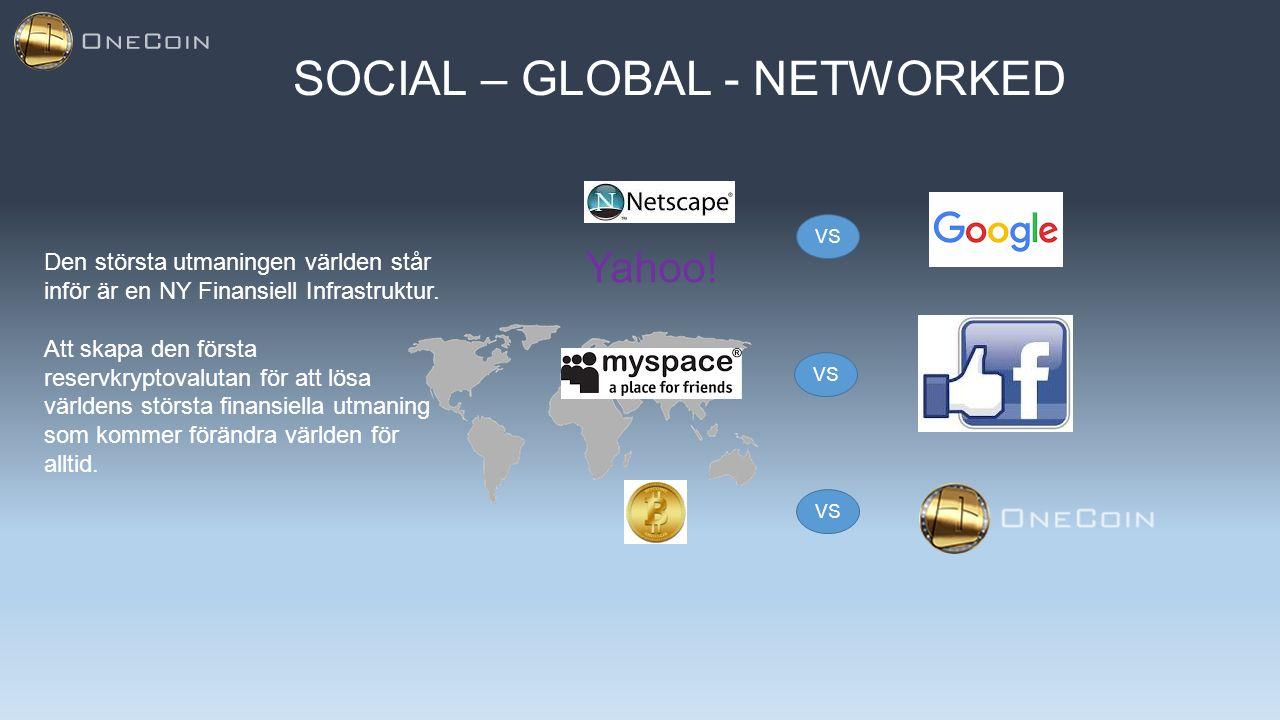 SOCIAL – GLOBAL - NETWORKED Den största utmaningen världen står inför är en NY Finansiell Infrastruktur. Att skapa den första reservkryptovalutan för