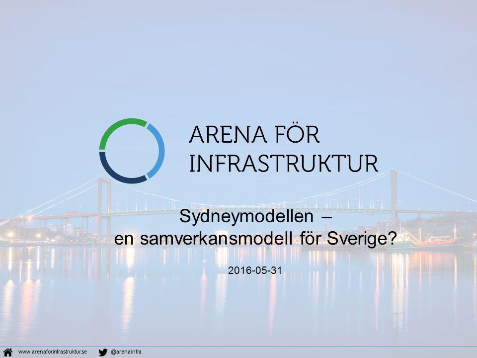 Sydneymodellen – en samverkansmodell för Sverige? 2016-05-31 www.arenaforinfrastruktur.se@arenainfra