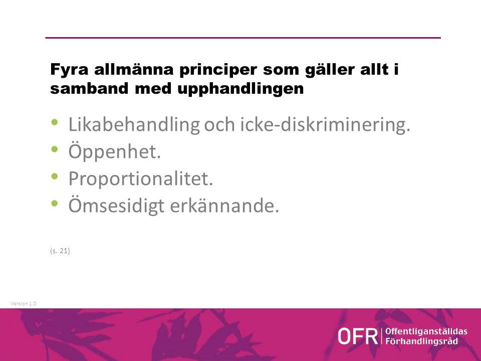 Version 1.0 Fyra allmänna principer som gäller allt i samband med upphandlingen Likabehandling och icke-diskriminering.