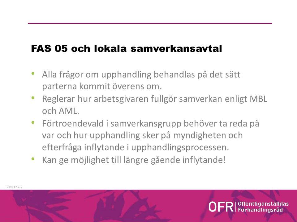 Version 1.0 FAS 05 och lokala samverkansavtal Alla frågor om upphandling behandlas på det sätt parterna kommit överens om.