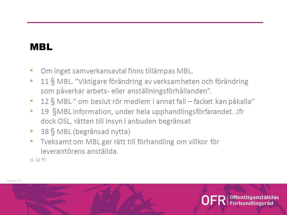 Version 1.0 MBL Om inget samverkansavtal finns tillämpas MBL.