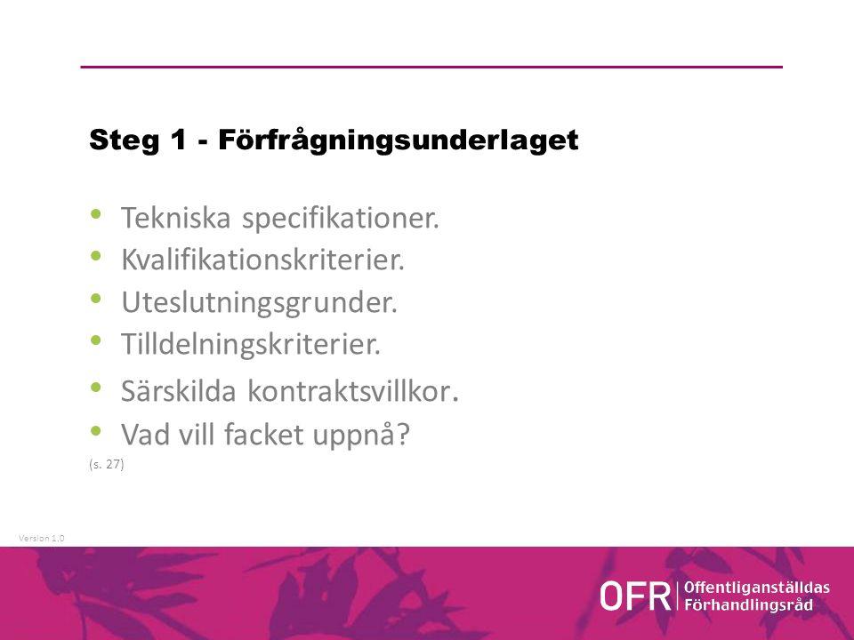 Version 1.0 Steg 1 - Förfrågningsunderlaget Tekniska specifikationer.