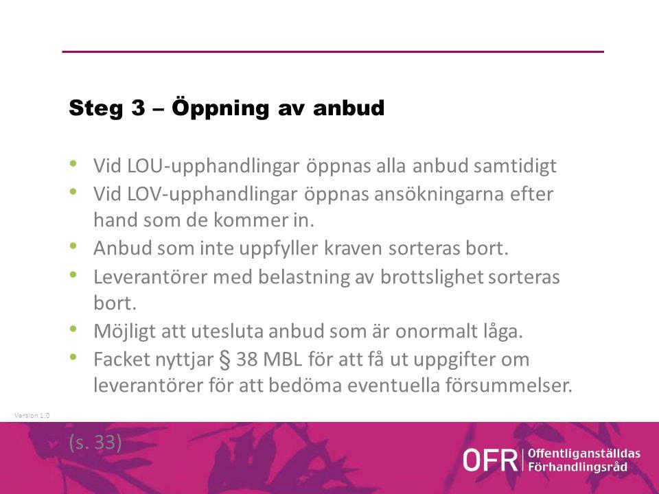 Version 1.0 Steg 3 – Öppning av anbud Vid LOU-upphandlingar öppnas alla anbud samtidigt Vid LOV-upphandlingar öppnas ansökningarna efter hand som de kommer in.