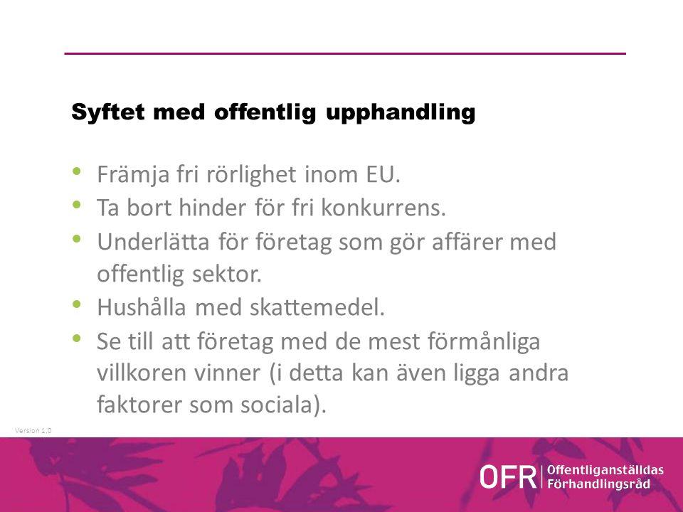 Version 1.0 Syftet med offentlig upphandling Främja fri rörlighet inom EU.