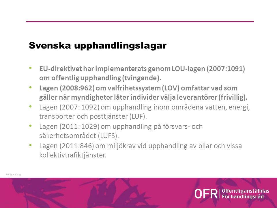Version 1.0 Svenska upphandlingslagar EU-direktivet har implementerats genom LOU-lagen (2007:1091) om offentlig upphandling (tvingande).
