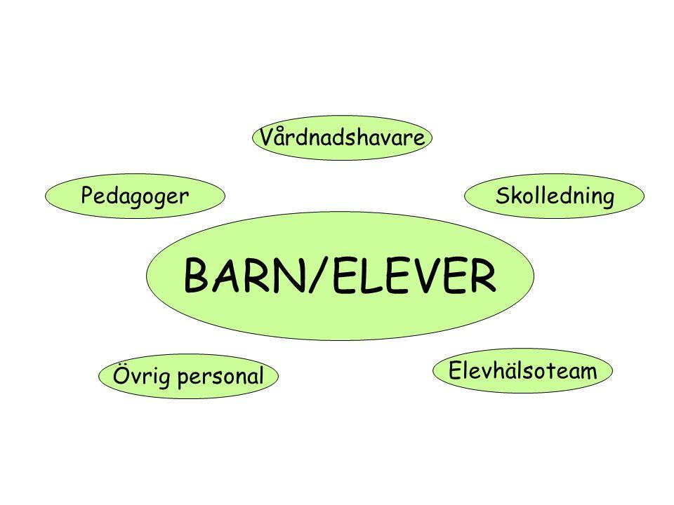 BARN/ELEVER Vårdnadshavare Elevhälsoteam PedagogerSkolledning Övrig personal