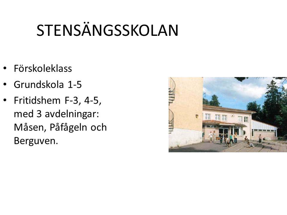 STENSÄNGSSKOLAN Förskoleklass Grundskola 1-5 Fritidshem F-3, 4-5, med 3 avdelningar: Måsen, Påfågeln och Berguven.