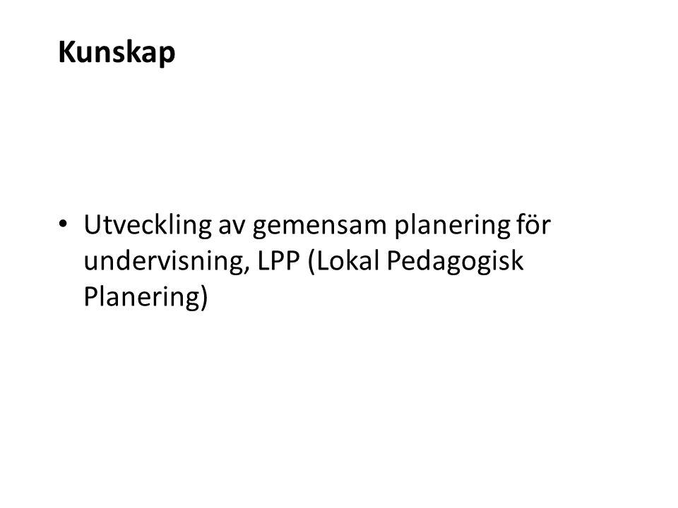 Kunskap Utveckling av gemensam planering för undervisning, LPP (Lokal Pedagogisk Planering)