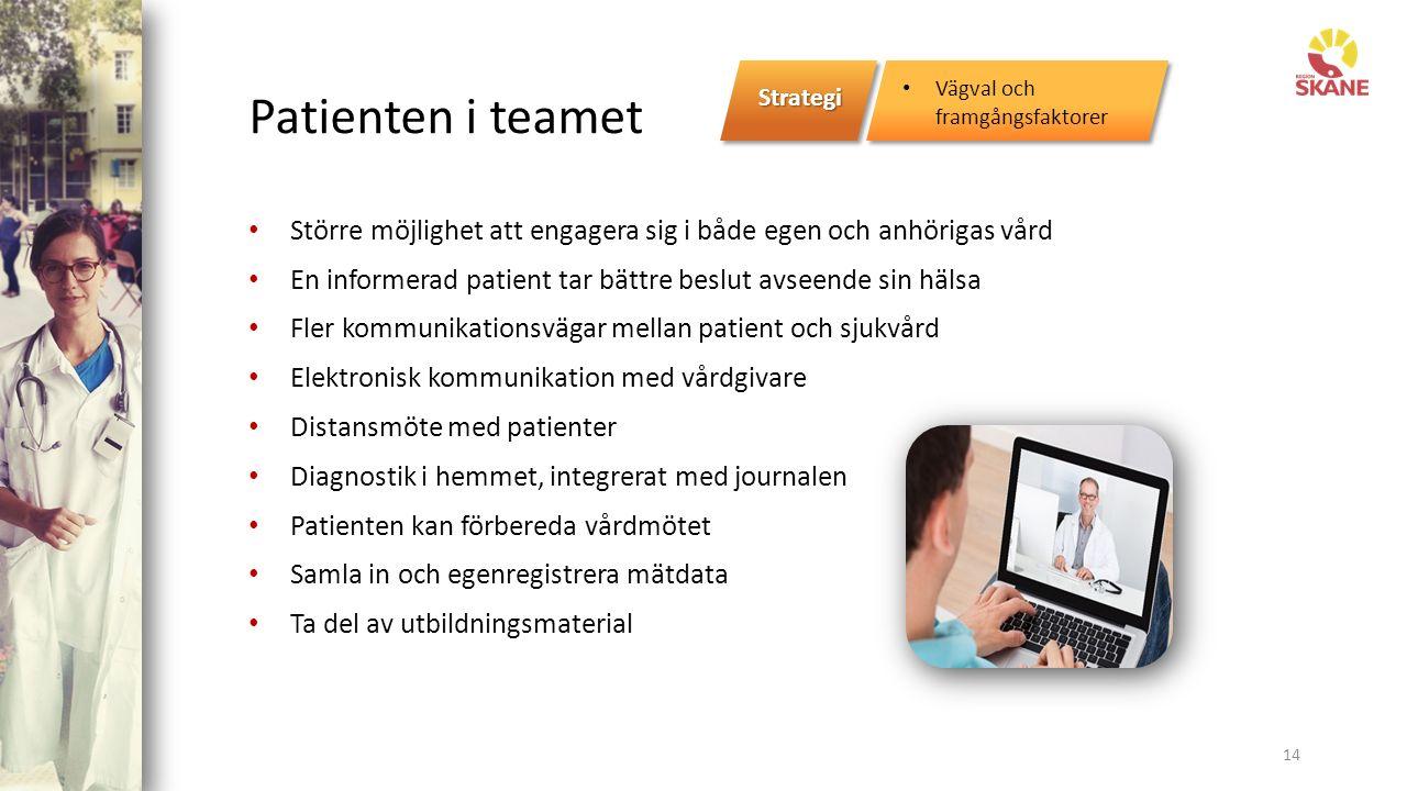 Patienten i teamet Större möjlighet att engagera sig i både egen och anhörigas vård En informerad patient tar bättre beslut avseende sin hälsa Fler kommunikationsvägar mellan patient och sjukvård Elektronisk kommunikation med vårdgivare Distansmöte med patienter Diagnostik i hemmet, integrerat med journalen Patienten kan förbereda vårdmötet Samla in och egenregistrera mätdata Ta del av utbildningsmaterial 14 Strategi Vägval och framgångsfaktorer