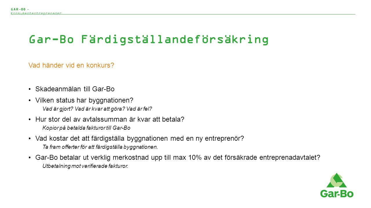 Gar-Bo Färdigställandeförsäkring Vad händer vid en konkurs.