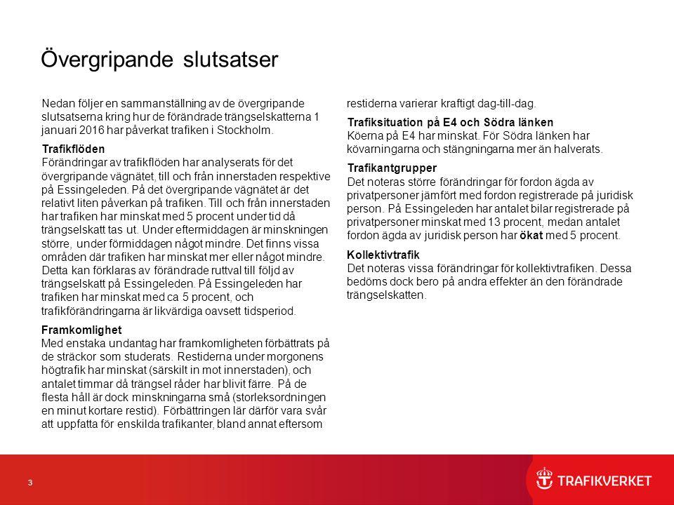 3 Övergripande slutsatser Nedan följer en sammanställning av de övergripande slutsatserna kring hur de förändrade trängselskatterna 1 januari 2016 har påverkat trafiken i Stockholm.