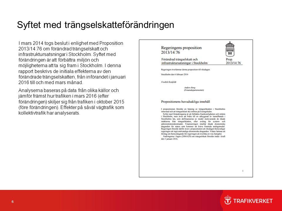 6 Syftet med trängselskatteförändringen I mars 2014 togs beslut i enlighet med Proposition 2013/14:76 om förändrad trängselskatt och infrastruktursatsningar i Stockholm.