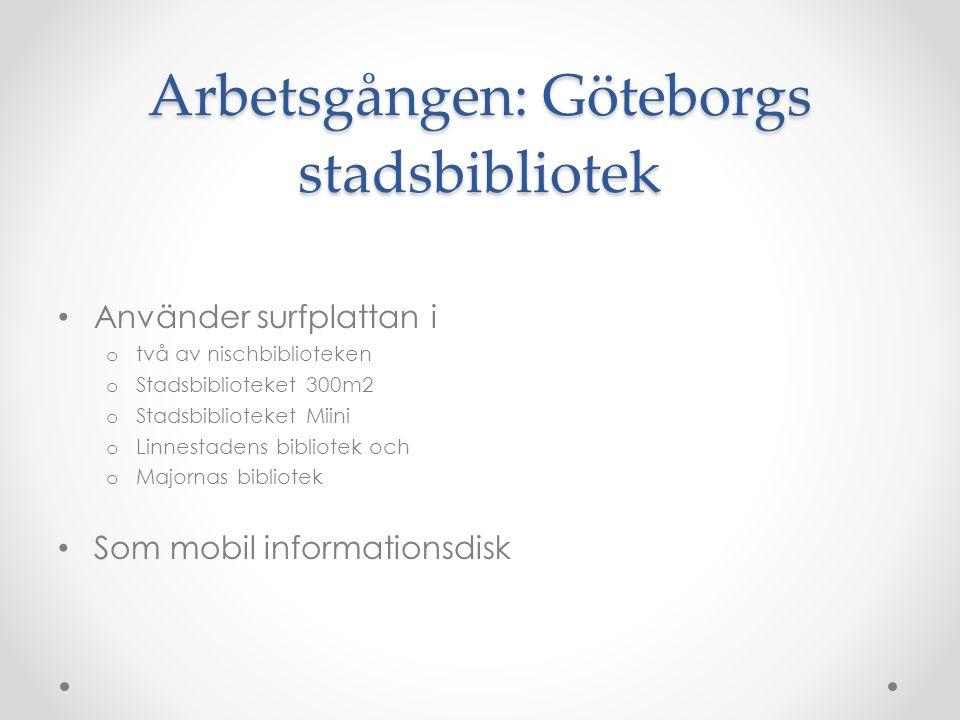 Arbetsgången: Göteborgs stadsbibliotek Använder surfplattan i o två av nischbiblioteken o Stadsbiblioteket 300m2 o Stadsbiblioteket Miini o Linnestadens bibliotek och o Majornas bibliotek Som mobil informationsdisk